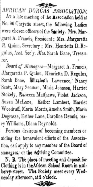 """scan of a print newspaper clipping, titled """"African Dorcas Association"""" published 1828 by the Freedom's Journal"""