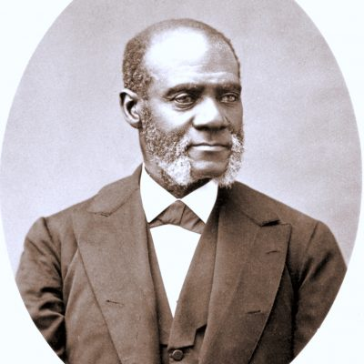 Black and white print of a portrait of Henry Highland Garnet, from 1881.