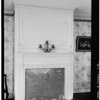 black and white photograph of the interior of the Prudence Crandall School for Negro Girls, the parlor.