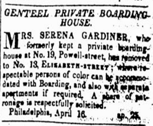 Listing in a newspaper, from 1835.